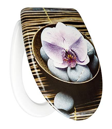 Primaster Toilettendeckel Orchidee Duroplast Absenkautomatik WC Sitz Klodeckel