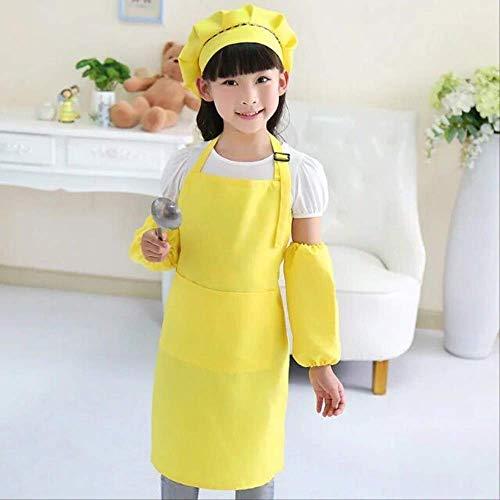 FHFF Schort Kinderen Kinderen Kinderen Schort Mouwen Hoed Set Grote Pocket Keuken Bakken Schilderen Koken M 4 Aan 8 Jaar Geel