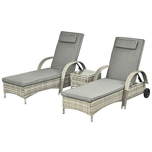 Outsunny Sonnenliege Gartenliege Tisch 3er-Set Gartenmöbel, Polyrattan+Metall Grau