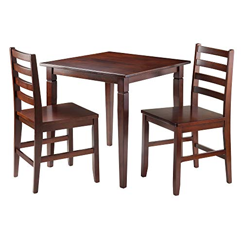 Winsome Kingstate Dinning Table with 2 Hamilton Ladder Back Chairs, Brown