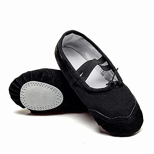 Zapatillas de Ballet Danza Canvas para Niña y Mujer Calzado de Danza Suela Partida de Cuero