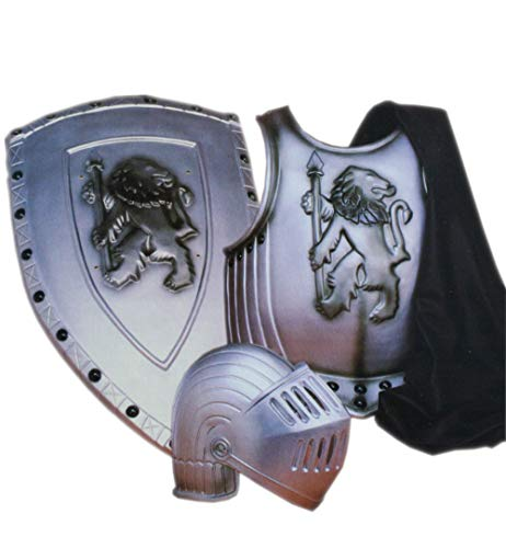 KarnevalsTeufel Kostüm-Set Ritter 4-teilig Brustpanzer, Mantel, Helm mit Visier und Schild Mittelalter Rüstung in Einheitsgröße