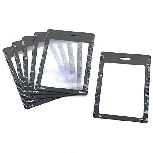 6 Credit Card Size 3X Magnifiers, Each Magnifier for Reading has 3X Fresnel Lens, Use as 3X Magnifying Glass, Pocket Magnifier, Reading Magnifier for Menus or as Accessory for ID Badge Holder Lanyards