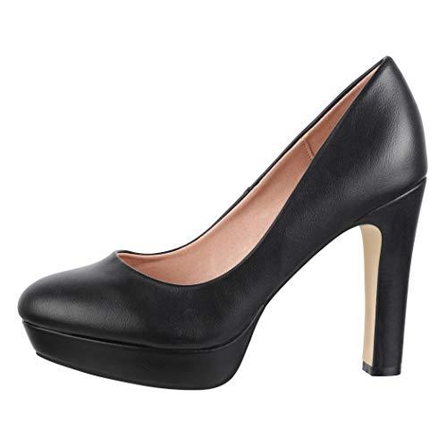 Elara Zapato de Tacón Alto Mujer Plataforma Chunkyrayan Negro E22321-Schwarz-38