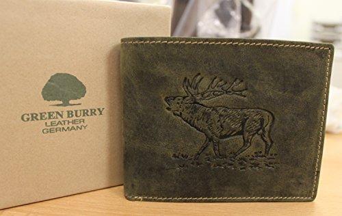 Geldbörse 1 G705 STAG oliv quer für Jagdfreunde Rindleder Greenburry/lefox