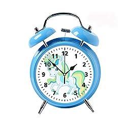 Children's Desk Decor Decorative Alarm Clock Bedside Snooze Double Bell Silent Bedroom Quartz Round Digital Living Room Metal Blue a Very Cute Unicorn in Pastel Colors