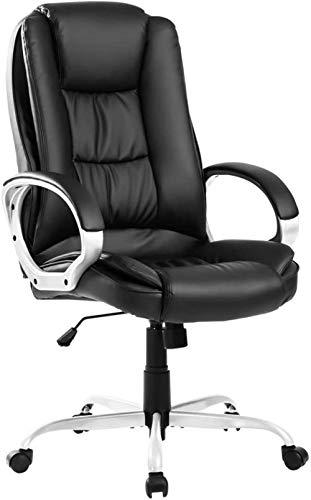 Executive Office Chair Großer Computer Home Lederwirbel verstellbar Ergonomisches Design mit hoher Rückenlehne Ergonomisches Design Synchronneigungsmechanismus360-Grad-DrehschwarzSchwarz