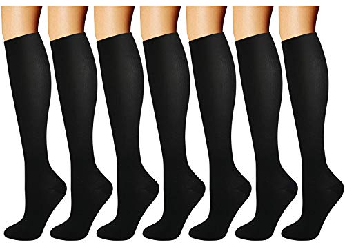 Calcetines de Compresión (7 pares) para Mujeres y Hombres Medias de Compresión (Negro,S/M)