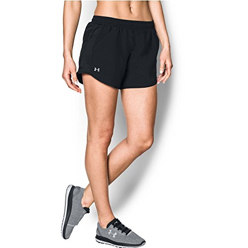 Under Armour Women's Fly-By Shorts, Black /Reflective, Large