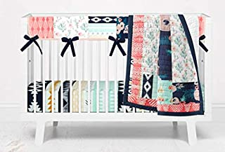 3 Piece Girls Bohemian Pricess Navy and Coral Floral Crib Bedding by Twig + Bird - Handmade in The USA with Scalloped Crib Rail Guard and Fitted Crib Sheet