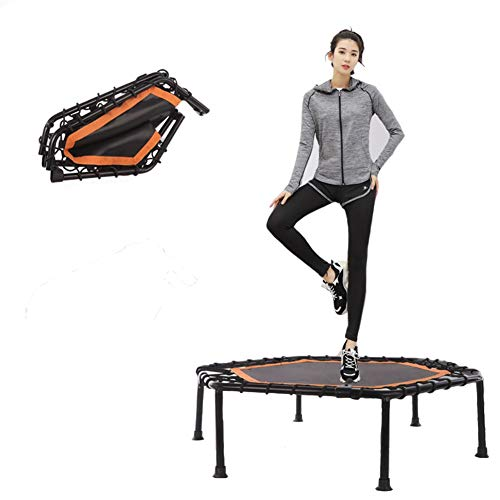 Foldable Mini Indoor Fitness Trampoline with Handle, Safe and Stable Fitness Equipment Weight Loss and Shape The Body, Diameter 105 Cm