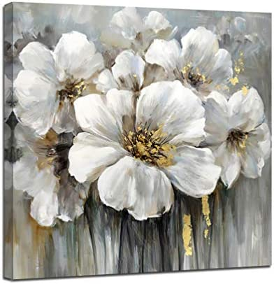 Abstract Floral Wall Art Canvas Hand Embellished With White Lily Flower Decoration Painting product image