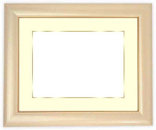 写真用額縁 30009/パールピンク写真半切(432×356mm) ガラス マット付(金色細縁付き) マット色:黒
