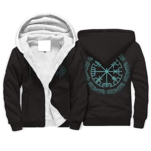 FFanClassic Sudadera con capucha de forro polar Viking para hombre, con bolsillos regulares, color blanco 4XL
