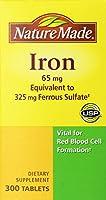 ネイチャーメイド アイロン 65mg 【鉄分65mg】 Nature Made Iron 65mg, Equivalent to 325 mg Ferrous Sulfate - 300 Tablets [並行輸入品]