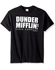 T-Line Men's The Office Tv Series Dunder Mifflin Logo-Black Graphic T-Shirt