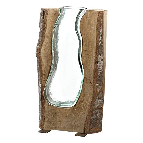 Leonardo Casolare Holz-Vase, handgefertigte Deko-Vase, formschöne Blumen-Vase aus Holz und Glas, Höhe: 360 mm, 038510