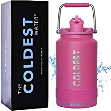 The Coldest Water Vacuum Insulated Stainless Steel One Gallon Jug with Flip Top Straw Lid 2.0-128 oz Super Insulated Water Bottle (1 Gallon - Pink)