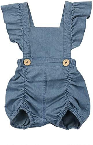 Kleren van de Baby, Baby van de zomer Meisjes ruches Denim Romper, Kid Maat: 80cm, Newborn Essentials aijia