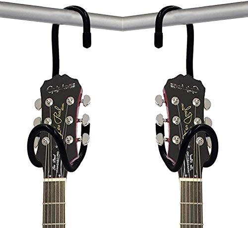 2 unidades, soporte de guitarra para armario, soporte para guitarra, soporte para guitarra, portátil, color negro, con acolchado de goma antideslizante, no incluye guitarra