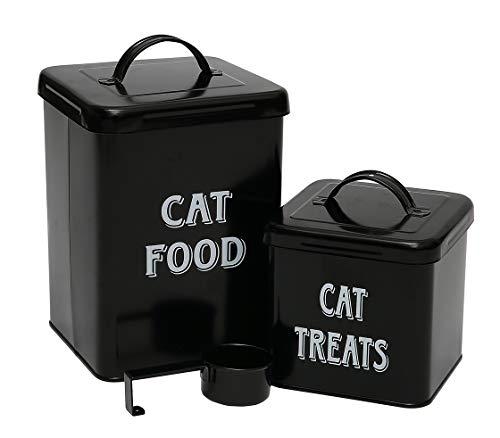 Pethiy Katzenfutter- und Leckerli-Container-Set mit Schaufel für Katzen, Vintage-Stil, pulverbeschichteter Karbonstahl, dicht schließender Deckel, Vorratsdosen, klein, schwarz