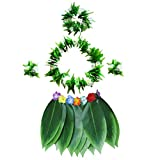 BESTOYARD 5 stücke Hula Rock Hawaiian kostüm Set mit grünen blättern Halskette armbänder...