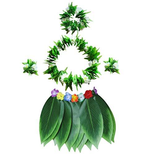 BESTOYARD 5 stücke Hula Rock Hawaiian kostüm Set mit grünen blättern Halskette armbänder Stirnband für Strand Luau Partei liefert (Erwachsene)