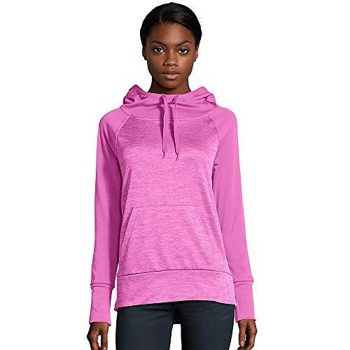 Hanes Women's Sport Performance Fleece Pullover Hoodie, Fresh Berry Solid/Fresh Berry Heather, S