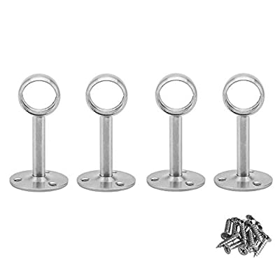 BTMB 4 Pcs Stainless steel Wardrobe Pipe Lever Wall Mounted