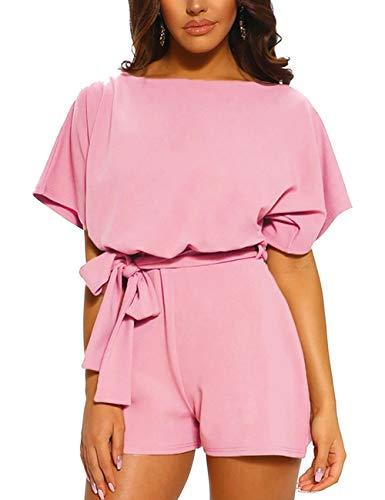 FeelinGirl Mujer Monos y Petos Cómodo Casual Liso Pantalón Sólido Suelto Cintura Alta Rosa XL