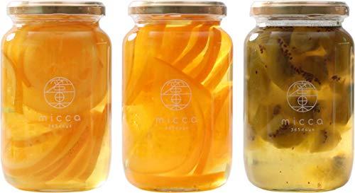 山下屋荘介 国産濃縮シロップ micca 3本 蜜果 調味料 ギフトセット (レモン・はっさく・キウイ)