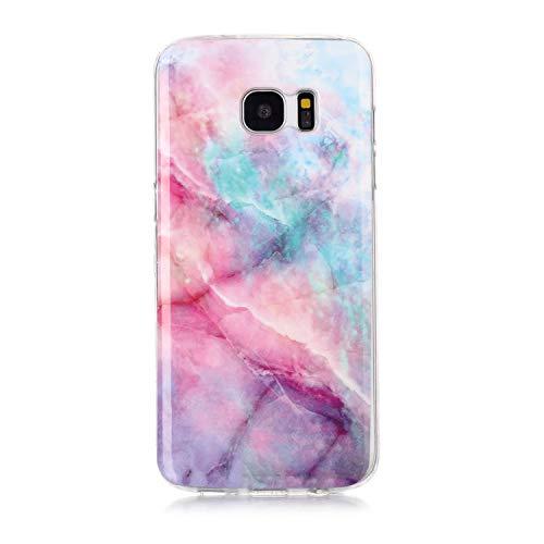 Homikon Silikon Hülle Marmor Muster TPU Handyhülle Ultra Dünn Matt Weiche Schutzhülle Stoßdämpfend Rückseite Soft Flexibel Tasche Case Cover Kompatibel mit Samsung Galaxy S7 Edge - Rosa grün