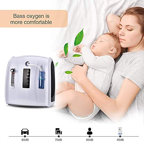 H HUKOER Portable Oxygen_Concent-rator,Oxygen_bar for Home and Travel Use, AC 110V Humidifiers 1-6L/min Adjustable, 30%-90% Concent-rator