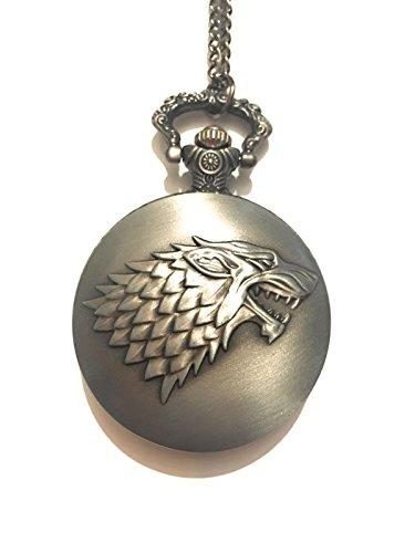 giulyscreations Casa Stark - Collar con reloj de metal sin níquel, funciona con juego de Tronos, el lobo y el invierno, ideal para cosplay