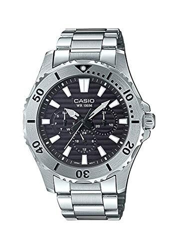 Casio Mtd-1086d-1avdf Reloj Analogico para Hombre Colección Marine Sports Caja De Acero Inoxidable Esfera Color Negro