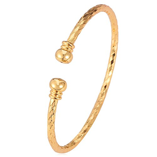 Simple Cuff Bracelet 18K Gold Platinum Plated Fine Bangle Bracelet Fashion Jewelry (18K Gold Plated)