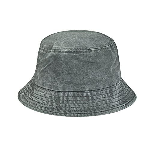 YUHOOE Unisex Sombrero De Pescador De Algodón Lavado De Mezclilla Sombrero De Panamá Bob Sombrero De Sol Plegable Hip Hop Gorras Sombrilla Hombres Mujeres Adolescentes,Verde,56,58Cm