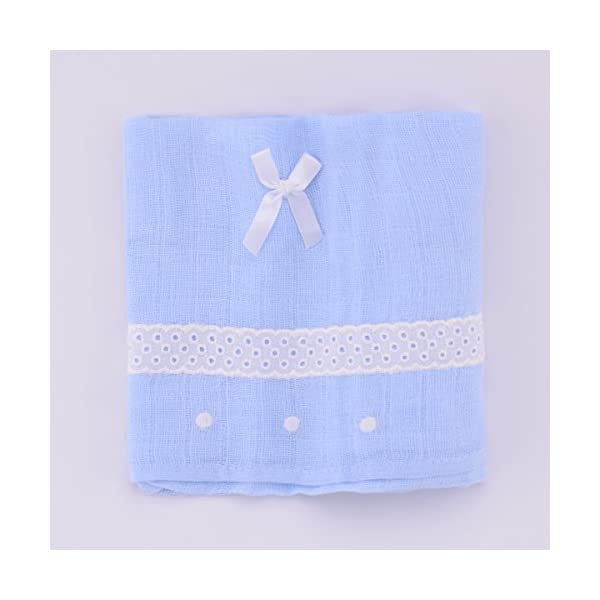 PEKITAS Muselinas Pack de 3   Mantas de Muselina 100% Algodón   Paños de Muselina para Bebés Calidad 75 x 75 cm Azul y…