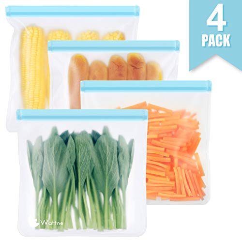 Reusable Sandwich & Snacks Bags, Reusable Ziplock Storage Bags Freezer Safe, Extra Thick PEVA Material BPA/Plastic Free Bags for Lunch, Snacks, Toiletries, Make-up (Light Blue, 4 Pack - X-Large)