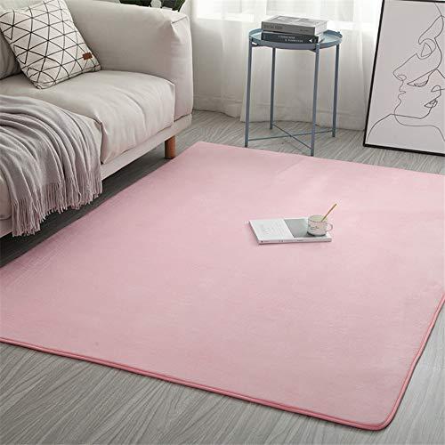 xingguang Alfombra de dormitorio de terciopelo coral, color sólido, absorción de agua, espuma viscoelástica para dormitorio, sala de estar, niños, tapete de yoga (color: rosa, tamaño: 40 x 60 cm)