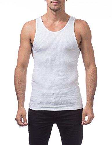 Pro Club Men's Premium Ringspun Cotton Ribbed A-Shirt (3-Pack), Snow White, Large
