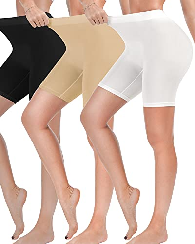 Reamphy 3 Pack Slip Shorts for Women Under Dress,Comfortable Smooth Yoga Shorts,Workout Biker Shorts(Black+White+Nude,L)