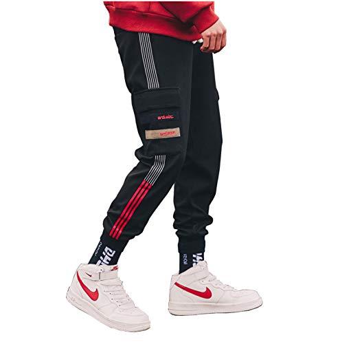 Floette Stripe Track Pants Casual Athletic Jogger Hip Hop Drawstring Pants Side Stripe Color (8, XXL)