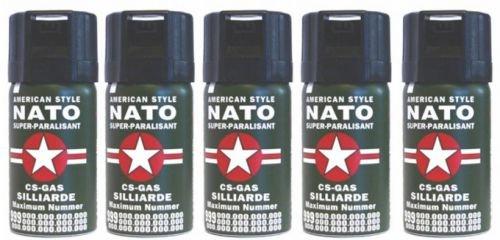 5 Stück CS GAS NATO Tränengas 40ml Abwehrspray CS-GAS