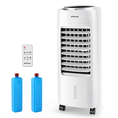 MVPower Raffreddatore d'Aria 6 L, Condizionatore Mobile 65 W, Umidificatore D'aria, 3 Velocità, 3 Modalità, con Filtro Antipolvere Integrato e Telecomando,Per Abitazioni e Uffici