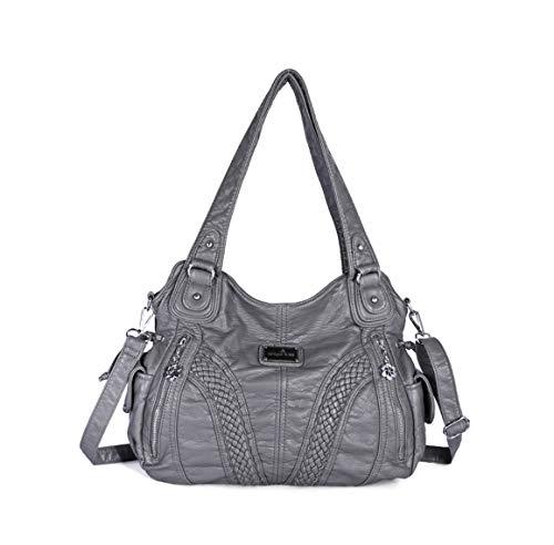 DEERWORD Damen Umhängetaschen Frau Handtaschen Schultertaschen Lack PU-Leder Elegant Grau V1