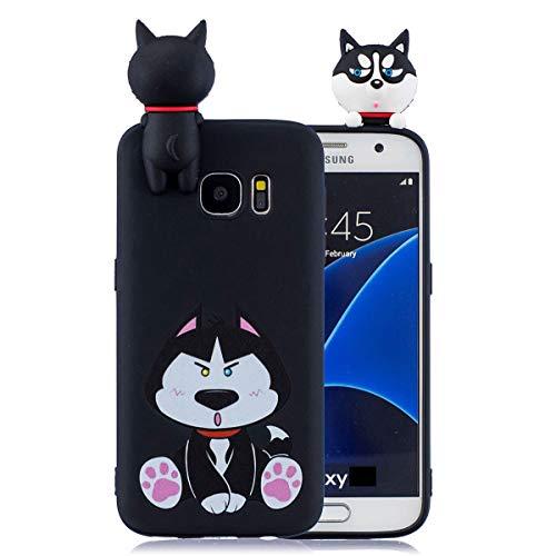WUBAOUK 3D Cartoon Hülle Kompatibel mit Samsung S7 Edge, Cute Animal Black husky Design Soft TPU Rubber Bumper Slim Silicone Hülle Candy Color Skin Back Cover
