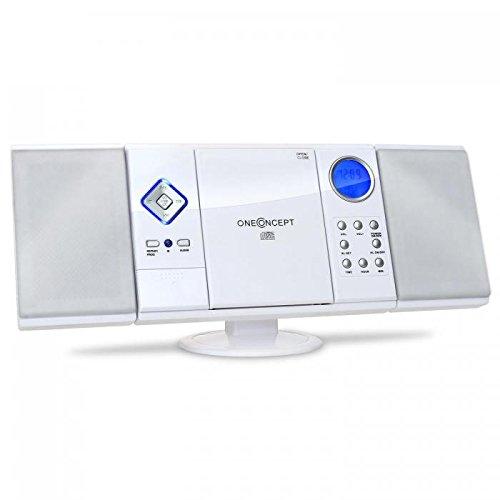 oneConcept V-12 - Mini Impianto Stereo, per Bambini, Lettore CD MP3, Radio VHF FM, Porta USB, Slot SD, AUX-IN, Telecomando, Display LCD, Sveglia, Orologio, Montaggio a Parete, Bianco