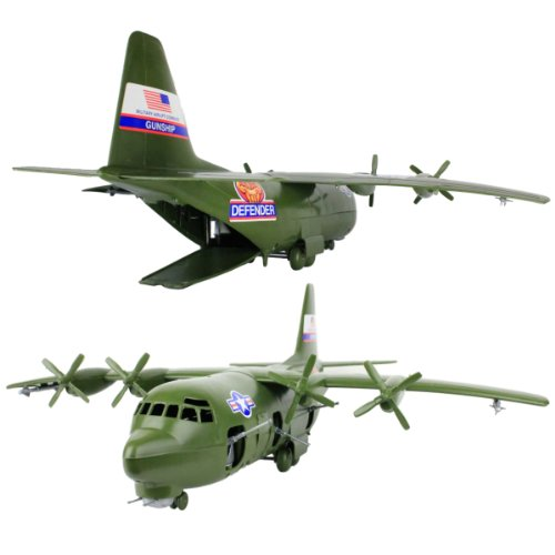 TimMee Plastic Army Men C130 Playset -27pc Giant Military Airplane Made in USA