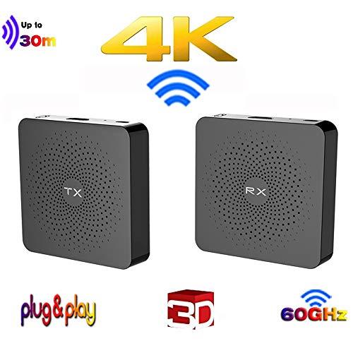 measy W2H 4K Draadloze HDMI Extender/Adapter/Dongle 30M / 100feet 60GHZ draadloze HDMI zender zender en ontvanger Ondersteunt Ultra HD 4K @ 30HZ HDCP 1.4 voor Netflix, DVD, 4K Projector